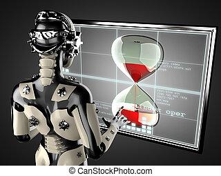 robot woman manipulating hologram displey - cyborg woman...