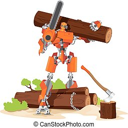 Robot Woodcutter Character