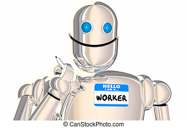 Robot Worker Automated Employee Name Tag Workforce 3d...