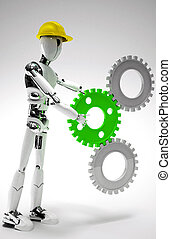 robot worker with gears