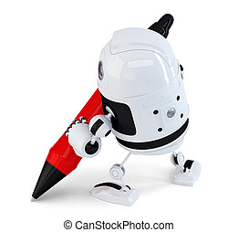 Robot writing with a pen. Isolated. Contains clipping path