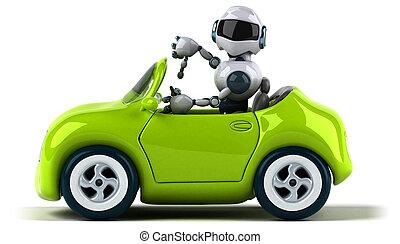 robot, y, coche