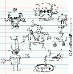 roboter, doodles