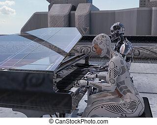 roboter, frau, klavier, auf, spielende , schließen