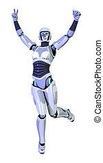 roboter, freigestellt, übertragung, weibliche , weißes, 3d