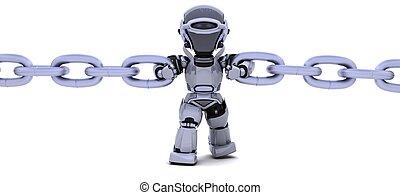 roboter, kette, besitz