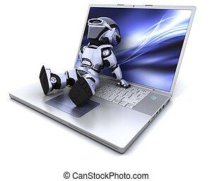 roboter, laptop