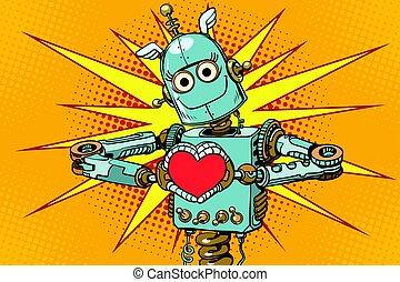 roboter, liebhaber, mit, a, rotes herz, symbol liebe