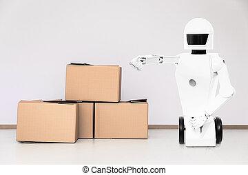 roboter, lotto, scatole, servizio in camera