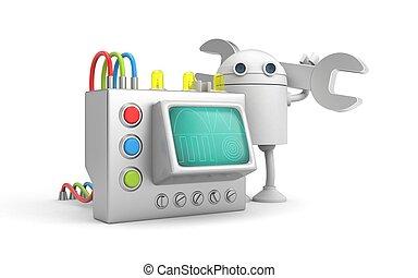roboter, mechaniker, mit, device., 3d, abbildung