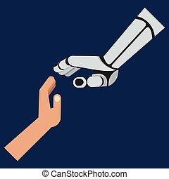 roboter, menschliche hände