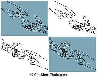 roboter, menschliche hände, portion