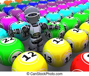 roboter, mit, bingo, kugeln