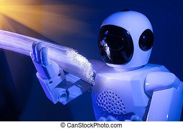 roboter, mit, faseroptik