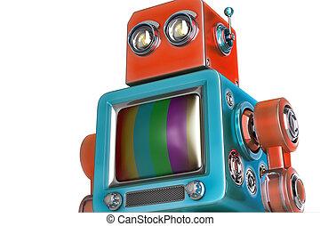 roboter, mit, fernsehapparat, screen., isolated., enthält, ausschnitt weg