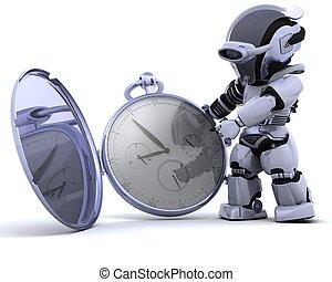 roboter, mit, klassisch, taschenuhr