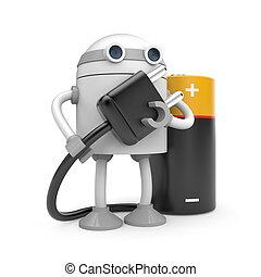 roboter, mit, stecker, und, batterie