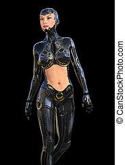 roboter, schwarz, freigestellt, hintergrund, humanoid