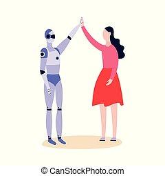 roboter, vektor, android, gruß, feundliches , wohnung, isolated., abbildung, frau