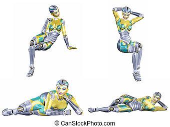 roboter, weibliche , satz