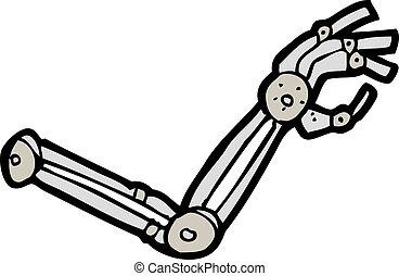 roboterarm, karikatur