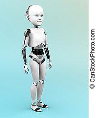 roboterkind, standing.