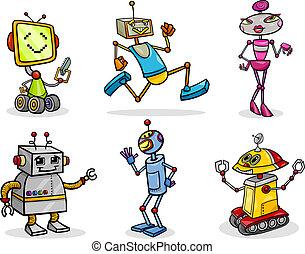 robotes, o, droids, caricatura, ilustración, conjunto