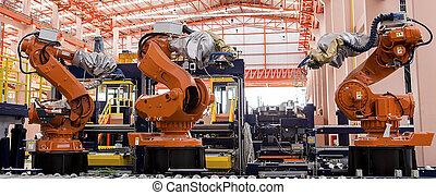 robotes, soldadura, en, un, línea de montaje
