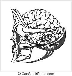 Robotic alien with a big brain in skull helmet.