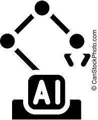 robotic arm ai glyph icon vector illustration