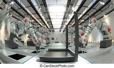 Robotic Arm Assembling 3d Printer On Conveyor Belt 4k video