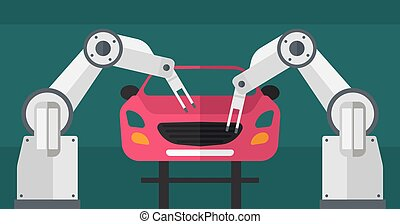Robotic arm assembling car in assembly shop.