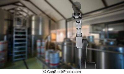 Robotic arm catching a light bulb in a warehouse