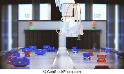 robotic arm conveyor selection. 4k 3d animation