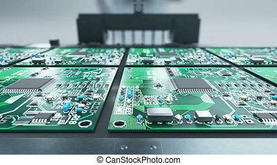 Robotic Arm Electronic Circuit Board Production on Conveyor...