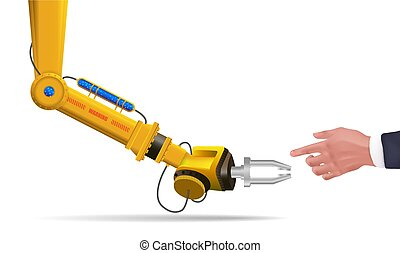 Robotic arm futuristic HUD. Robot hand touch human