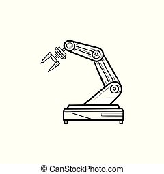 Robotic arm hand drawn outline doodle icon.