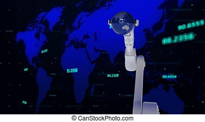 Robotic arm holding a globe against world map