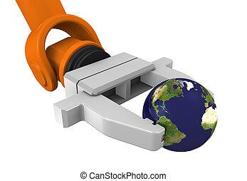 Robotic arm holding globe