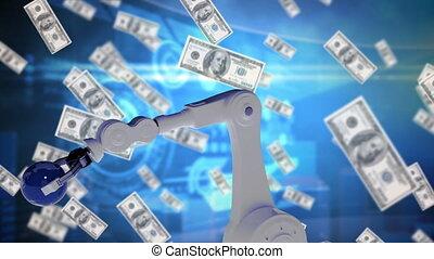 Robotic arm holding globe surrounded by money