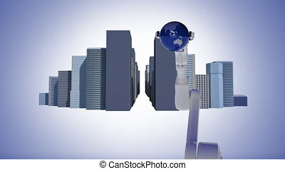 Robotic arm holding spinning globe surrounded by buildings