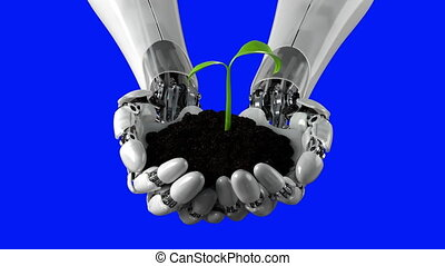 Robotic Arm Holds Soil with Time Lapse Growing Plant on a ...