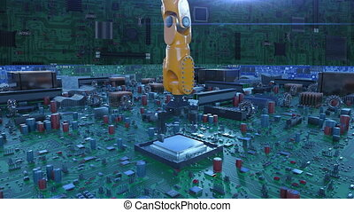 Robotic Arm Installing Processor into the Circuit Board. 3d...