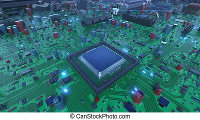 Robotic Arm Installing Processor into the Circuit Board with Blue Lights. 3d Animation of Motherboard with CPU and Flares. Technology and Digital Concept. 4k UHD 3840x2160.