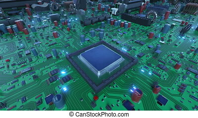 Robotic Arm Installing Processor into the Circuit Board with Blue Signals. 3d Animation of Motherboard with CPU and Flares. Technology and Digital Concept. 4k Ultra HD 3840x2160.