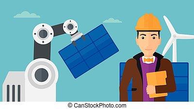 Robotic arm installing solar power pannel. - Caucasian...