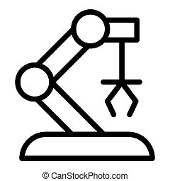 Robotic arm line icon. Mechanical hand vector illustration isolated on white. Machinery claw outline style design, designed for web and app. Eps 10.