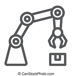 Robotic arm line icon, technology and machine, mechanical arm sign, vector graphics, a linear pattern on a white background, eps 10.