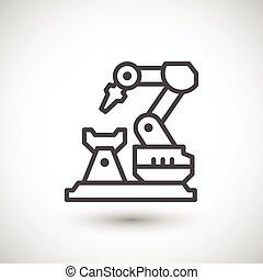 Robotic arm machine line icon