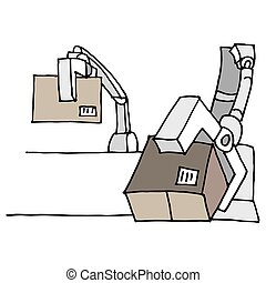 Robotic arm moving boxes
